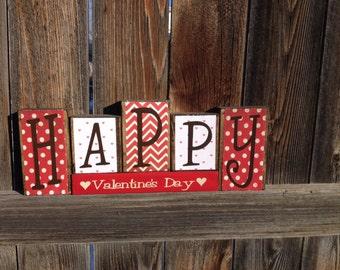 Happy Valentine's Day wood blocks-Valentine decor