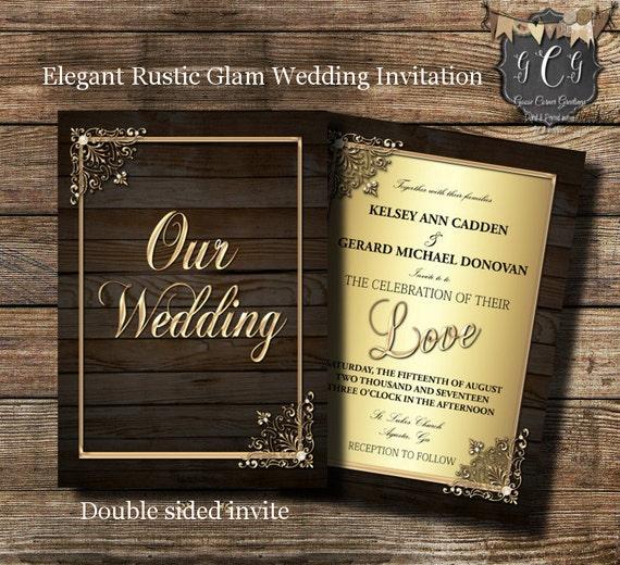 Rustic GLAM Wedding Invitations Invitation Elegant
