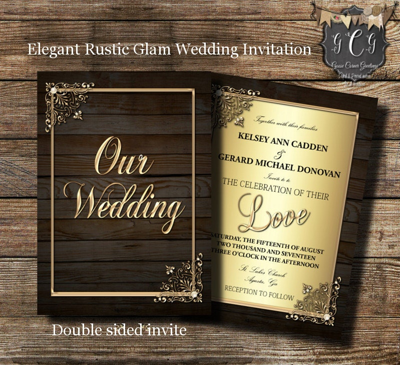 rustic glam wedding invitations wedding invitation elegant rustic invitations printed wedding invite barn wedding farm wedding - Barn Wedding Invitations