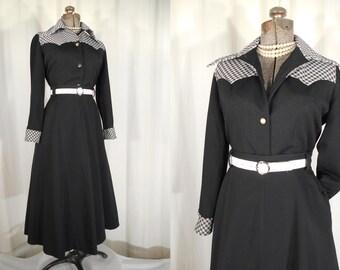 Vintage 1970s Blouse - 50s Western Rockabilly Blouse, Black White Gingham Blouse