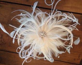 Bridal Feather Fascinator Hair Accessory with petite birdcage veil.