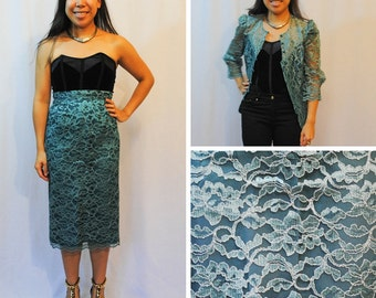 Green Lace Two Piece Skirt Suit