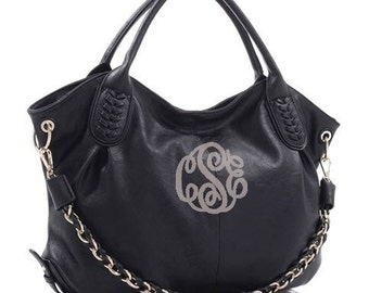 Conceal Carry Purse - BLACK Monogram CCW - Concealed Carry Handbag - Hobo Bag -  Hobo Purse - Vegan - Personalized Purse - Concealed Weapon