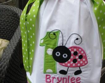 pink and green ladybug pillowcase dress, ladybug birthday,1st birthday party dress, pink ladybug,2nd birthday pillowcase dress,