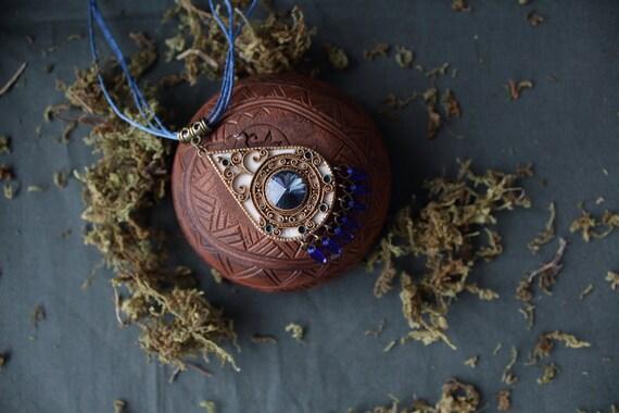 Ethnic pendant Swarovski, indian blue pendant, ethnic white pendant, tibetan jewelry