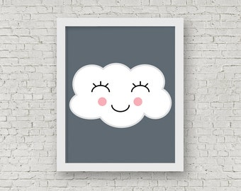 Happy Cloud Print, Illustrated Print, Kids Room Decor, Kids Print, Cloud Art, Happy Home Decor, 8 x 10 Print