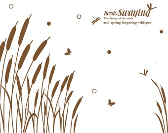 Reed Swaying Wall Sticker for Living Room Spring Decor(XL8150)