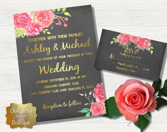 Rose Wedding Invitation with RSVP card