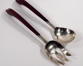 Vintage  Plata 925 Mexican Serlling Silver RosewoodSalad Serving Spoon Fork