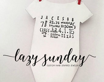 Hand Stamped Onesie Ornament, Baby's First Christmas, Birth Announcement, Christmas Ornament