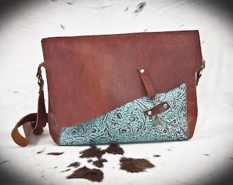 Bison and Turquoise Leather Skeleton Key handBag or purse.  Handmade