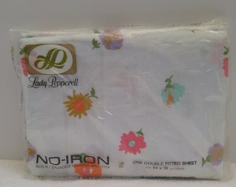 NEW Vintage Lady Pepperell Double Fitted Sheet 70s Flowers Floral NO-IRON New in Package