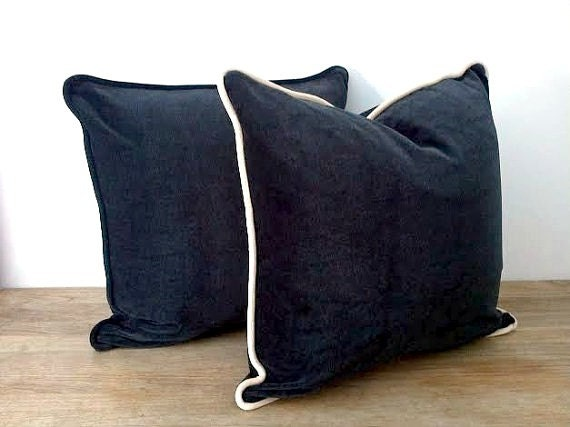 Charcoal Grey Velvet Throw Pillow Cover Dark Grey Cushion