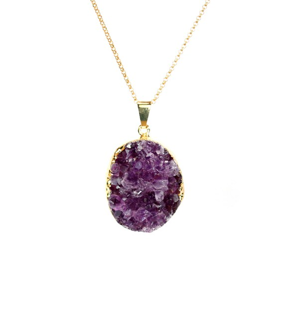 Amethyst druzy necklace - raw crystal necklace - raw amethyst necklace - a gold lined amethyst on a 14k gold filled chain