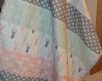 Mint, Gray and Pink Modern Stag Girls Blanket / Girls Buck Quilt