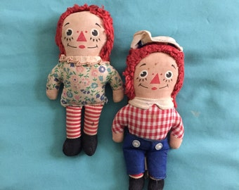 "Vintage 1971 Raggedy Ann and Andy 7"" Dolls Knickerbocker Toy"