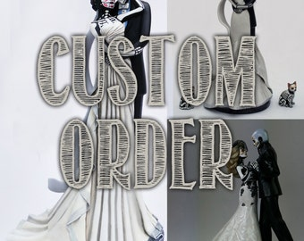 RESERVED Day of the Dead Bride and Groom Cake Topper DEPOSIT