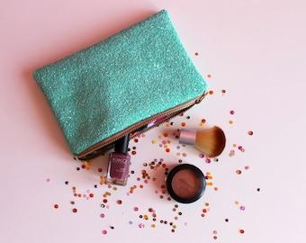 Mint Green Makeup Bag, Aqua Glitter Clutch Bag,
