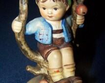"""Signed Hummel """"Boy in Apple Tree"""" Figurine"""