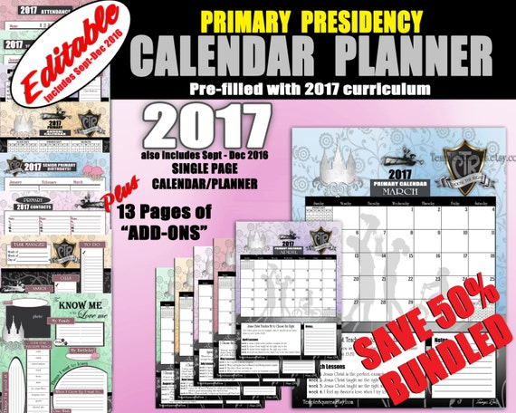 Printable Editable Bundle Primary Presidency Calendars Planners 2017 CTR Choose the Right Theme Secretary Time Savers Instant Download