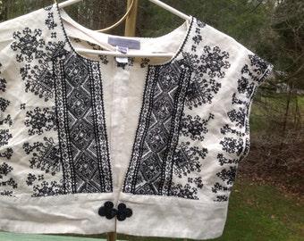 Penelope & Monica Cruz Woman's Cream, Black Embroidered Shrug, Top Size Medium ~ 90s ~ Made In India