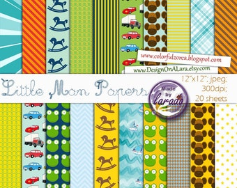 Little Man Digital Papers, Little Boy Digital Paper Pack, Baby Boy Digital Paper, Little Boy Blue Papers, Little Boys Scrapbooking Paper
