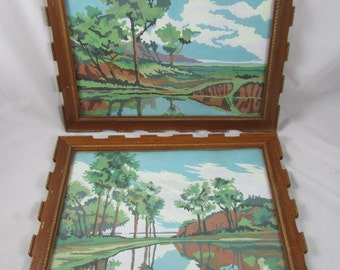 2 Landscape Woods Water Paint By Number  Paintings PBN Framed Wall Decor