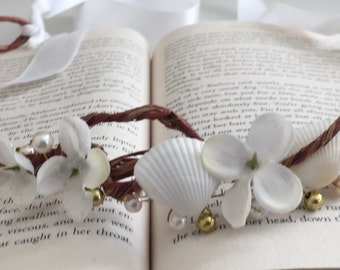 Beach Wedding Hair Crown, Sea Shell Hair Crown, Silk Flower Hair Crown