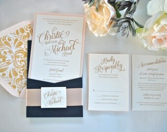 Navy, Gold, Blush Pocket Wedding Invitation-Simply Glamorous- (NOT A SAMPLE LISTING) - Colors/wording/materials Customizable