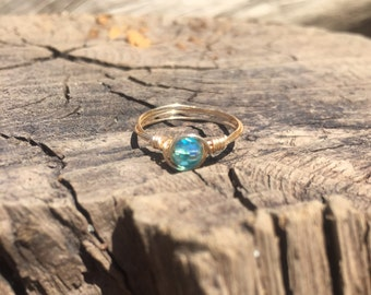 Made to order dainty blue crystal ring