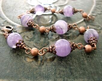 Amethyst Gemstone Bracelet - Vintage Style Antique Copper Gemstone Jewelry - Rustic Purple Natural Amethyst Beaded Bracelet Copper Jewelry