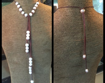 Five Frop White Freshwater Pearl and Leather Adjustable Necklace