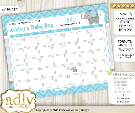 Guess Due Date Calendar for Baby Shower, Predictions Printable, baby ...