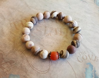 Red frosted agate and Natural matte bracelet
