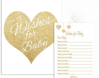 Wishes for baby cards printable white and gold baby shower, Gender Neutral wishes for baby, Digital, instant download, Wishes for baby sign