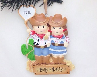 FREE SHIPPING Cowboy and Cowgirl couple personalized Christmas ornament - First Christmas - Couple ornament - Custom Names