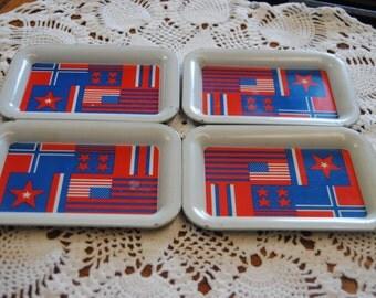 Tiny Metal Trays/Vintage Metal Trays/Set of 4 trays/Drink Trays
