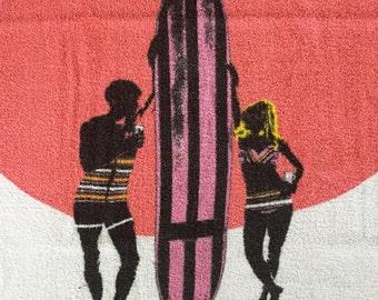 Vintage Paul Jones American Whiskey Beach Towel- Surfboard, Bikini Girl, Surfer Dude