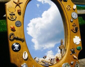 Repurposed Recycled Pirate Mirror