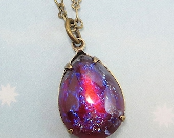 Mexican Opal Necklace Dragons Breath Necklace Fire Opal Necklace Pendant