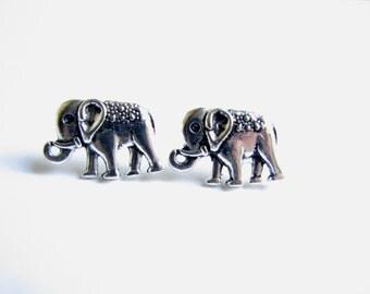 Silver Elephant Studs Small Elephant Jewelry Post Earrings Cute Safari Animal