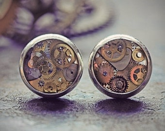 Steampunk Stud Earrings Steampunk Jewelry Watch Part Studs Tiny Watch Cogs Gears Silver Steam Punk Cyberpunk Clock Eco Friendly Resin