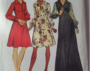"""Vintage 1973 Simplicity sewing pattern 5968 Misses' and Women's Dress in Two Lengths in size 14, bust 36"""""""