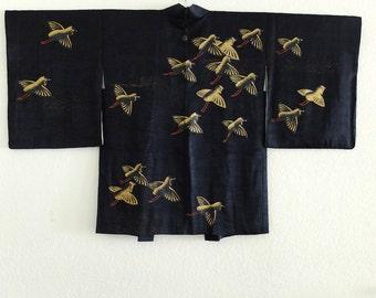 Beautiful and unusual black silk haori with birds