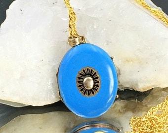 Antique Enamel 12K Gold Photo Locket, Edwardian Blue Enamel Gold Locket