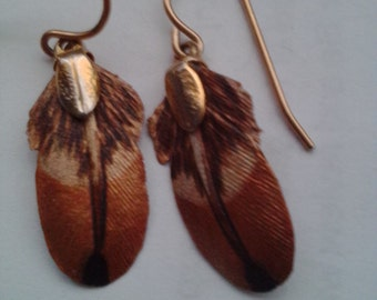 NEW ITEM! Hand made, hand painted LEATHER, bird's feather dangle earrings. Gold filled ear wires. Hand painted on thin leather.