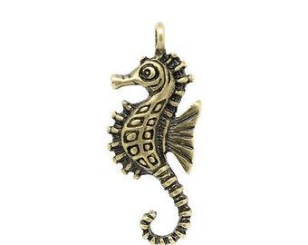 4 Seahorse Charms, antique brass seahorses, bronze seahorse charms, nautical, ocean, USA charms