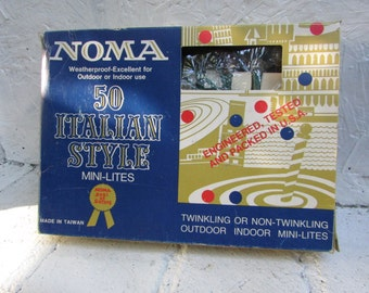 Vtg Box of 50 Miniature Light Set. Colorfull  NOMA Christmas Lights. VINTAGE Christmas Lights. Christmas Trees