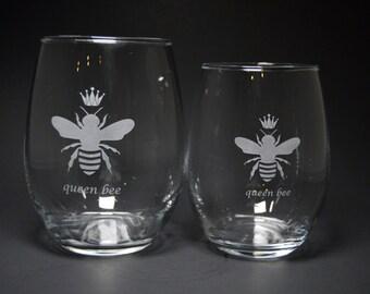 Queen Bee Stemless Wine Glass