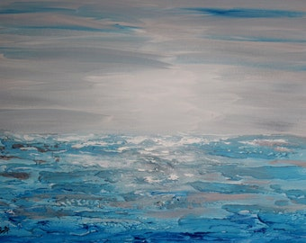 ORIGINAL Painting light blue and gray Modern art blue Contemporary sea painting abstract Painting Palette Knife textured fine art- cool blue